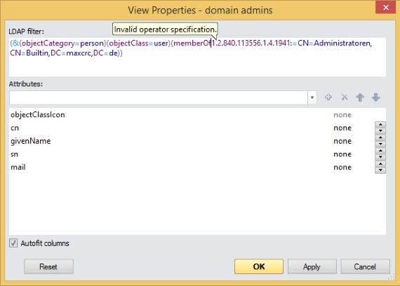 LDAP filter validator